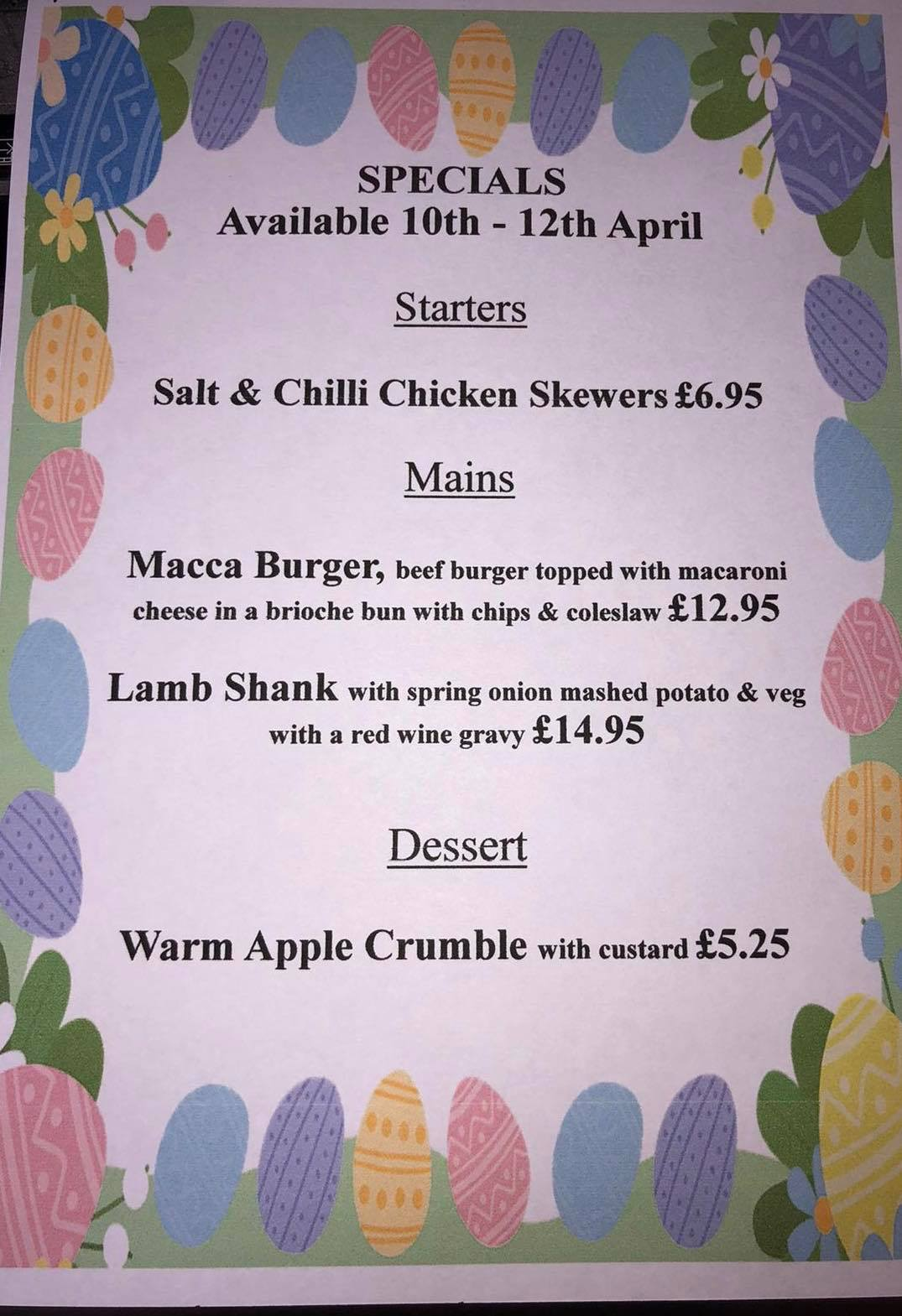 Easter Weekend Menu