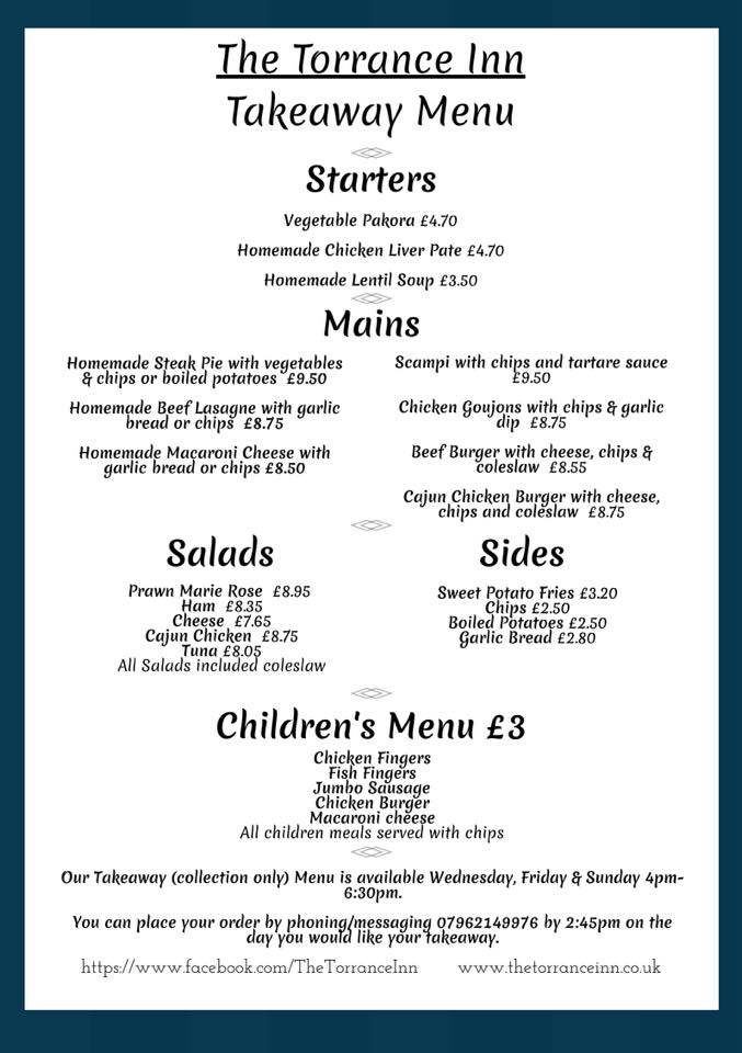 New takeaway menu
